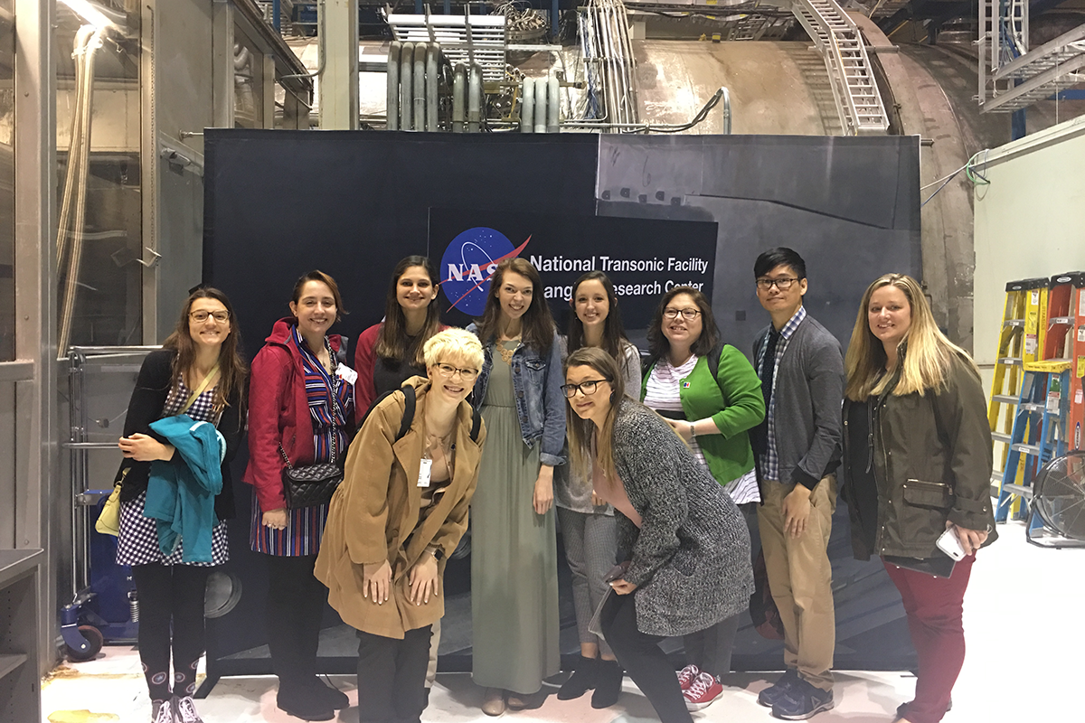 The 2019 Pre-Service Teacher Scholars receive a behind-the-scenes tour at NASA Langley Research Center.