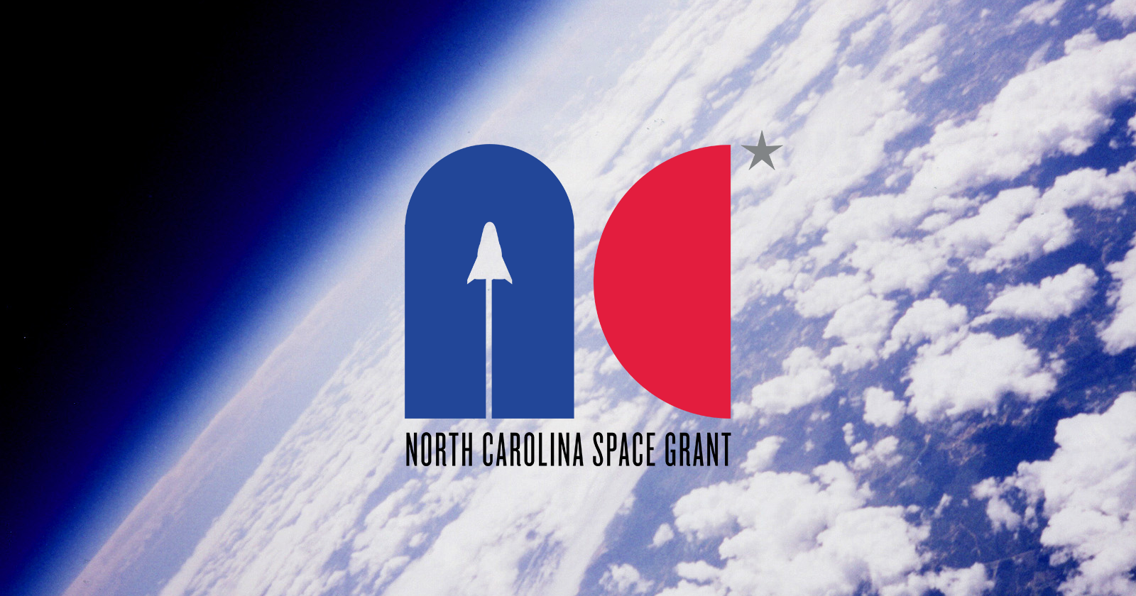 High-altitude balloon image of Earth with NC Space Grant logo