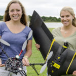 Anna Windle and Sarah Poulin with their drones