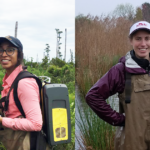 Previous graduate fellowship recipients Melinda Martinez and Emily Ury take greenhouse gas emission measurements in a forested wetland.
