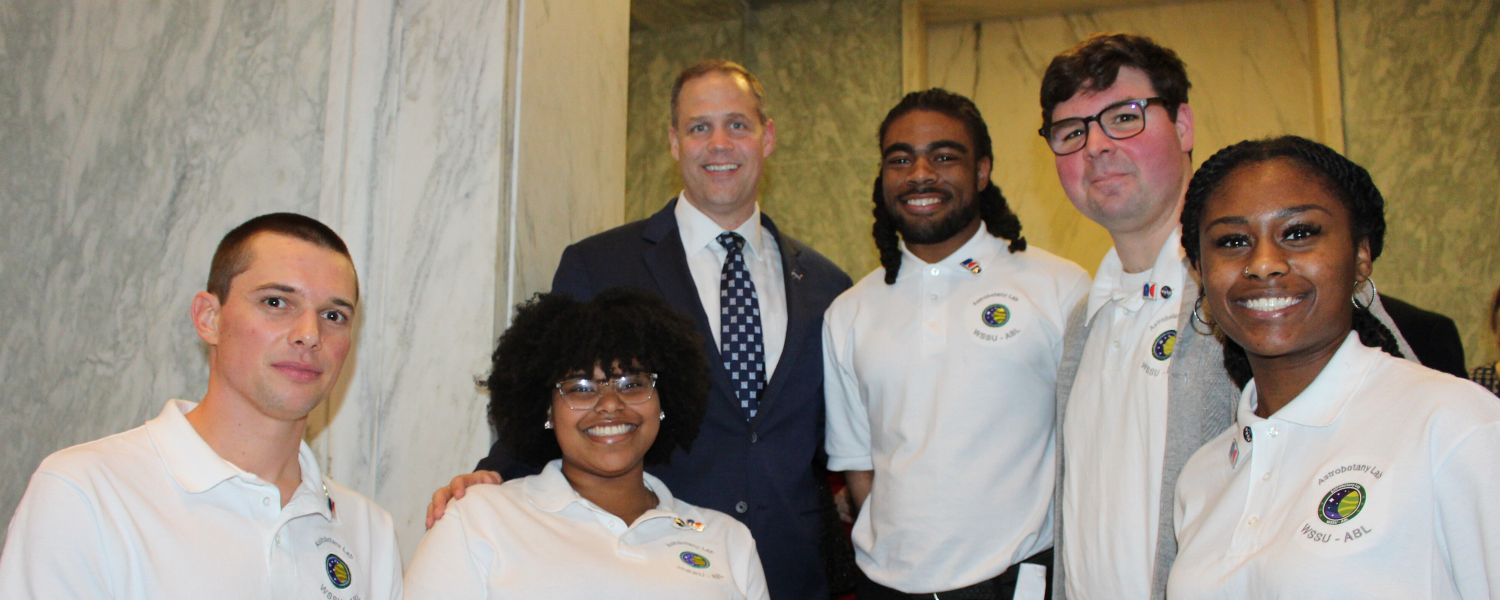 NASA Administrator Jim Bridenstine meets the Winston-Salem State University Astrobotany lab students and NC Space Grant-supported faculty researcher Rafael Loureiro.