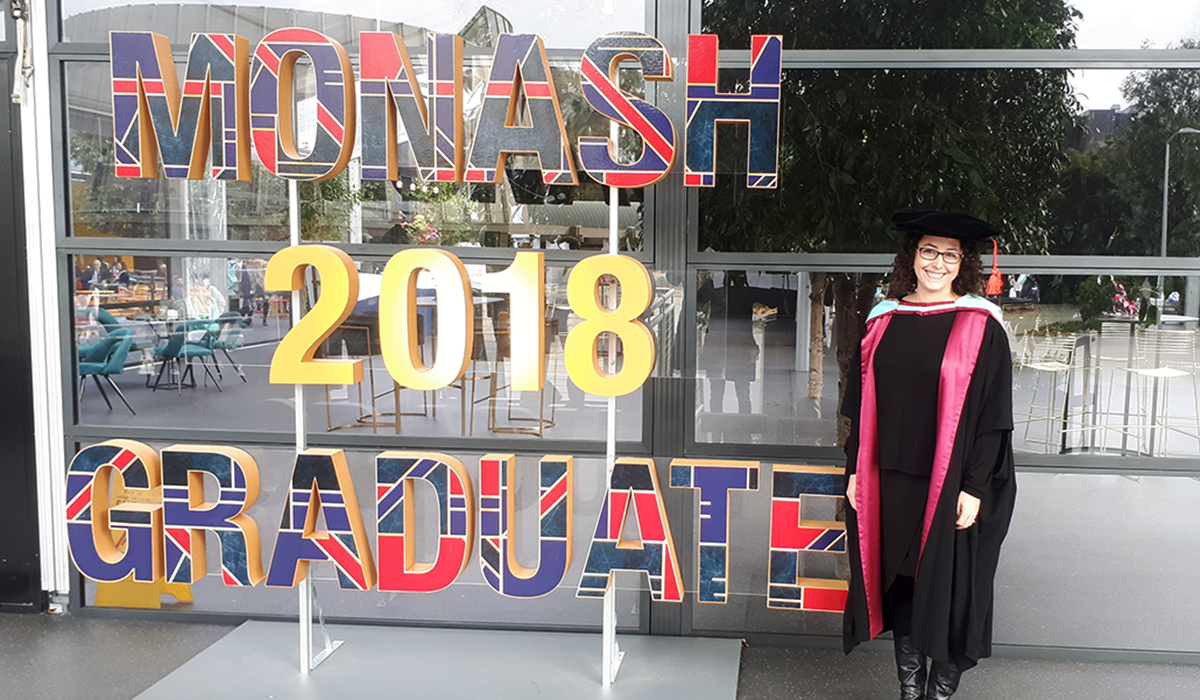 Ashley Roberts graduates with a Ph.D. in materials engineering from Monash University in Australia in 2018.