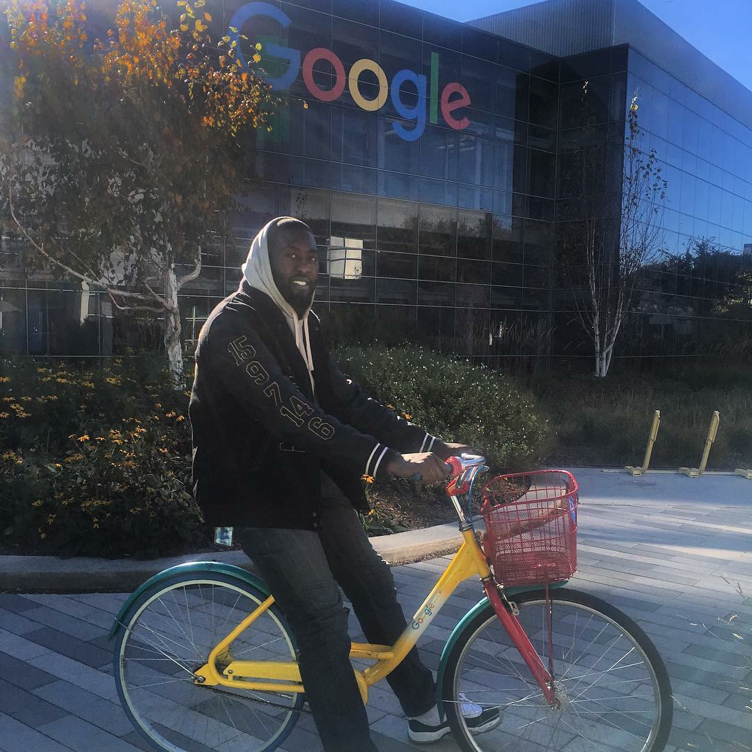 Parker borrows a Google shared bike to navigate around the Google Mountain View campus in California.