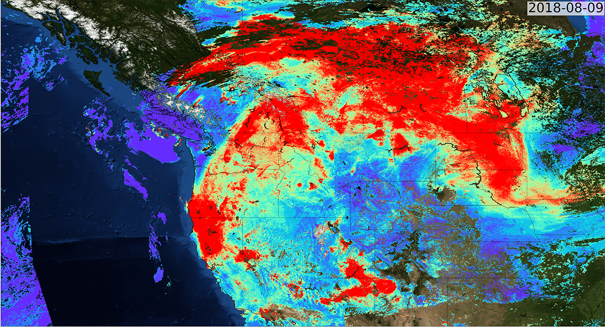 A satellite image of aerosols from the 2018 California fires drifting from California up to Canada.
