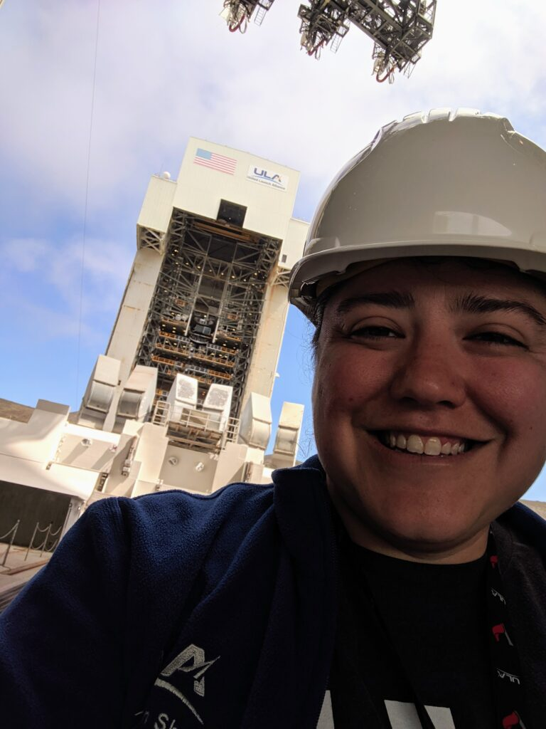 Adams enjoys the view of the mobile service tower on Space Launch Complex-6, a huge structure for housing rockets, at Vandenburg Air Force Base.