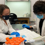 Professor Karen Farizatto (left) and 2021-22 Undergraduate Research Scholarship recipient, Jared Tuton (right), review protein quantification results at the University of North Carolina Pembroke Biotech Research and Training Center (BRTC).