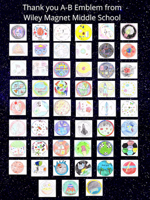 Poster with 51 patch designs created by NCSEA program advisor Betty Jo Moore's students at Wiley Magnet Middle School in Winston-Salem